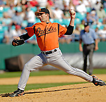 5 March 2006: Tim Byrdak, pitcher for the Baltimore Orioles, on the mound during a Spring Training game against the Washington Nationals. The Nationals defeated the Orioles 10-6 at Space Coast Stadium, in Viera Florida...Mandatory Photo Credit: Ed Wolfstein..