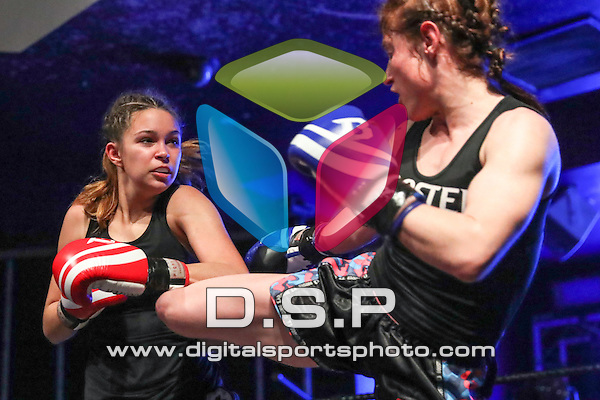 Iony Lawrence (HOP) VS Bryony Tyrell (Lookborai) - 56kg Pro K1 Southern Area Title Fight.  During Fast and Furious Fight Series 16 Photo by: Stephen Smith<br /> <br /> Saturday 22nd October 2016 - Oceana, Southampton, Hampshire, United Kingdom.