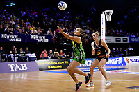 Pulse&rsquo; Tiana Metuarau in action during the ANZ Premiership - Pulse v Magic at TSB Bank Arena, Wellington, New Zealand on Sunday 21 April 2019. <br /> Photo by Masanori Udagawa. <br /> www.photowellington.photoshelter.com