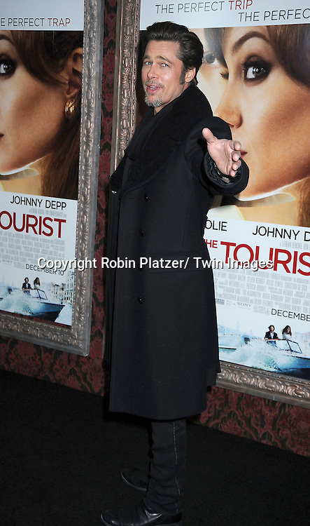 """Brad Pitt at The World Premiere of """"The Tourist"""" on December 6, 2010 at The Ziegfeld Theatre in New York City. The film stars Angelina Jolie and Johnny Depp."""