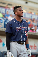 Jacksonville Jumbo Shrimp center fielder Lewis Brinson (32) before a game against the Pensacola Blue Wahoos on August 15, 2018 at Blue Wahoos Stadium in Pensacola, Florida.  Jacksonville defeated Pensacola 9-2.  (Mike Janes/Four Seam Images)