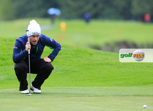 Tyrell Hatton (ENG) on the 17th green during Thursday's Round 1 of the 2016 Dubai Duty Free Irish Open hosted by Rory Foundation held at the K Club, Straffan, Co.Kildare, Ireland. 19th May 2016.<br /> Picture: Eoin Clarke | Golffile<br /> <br /> <br /> All photos usage must carry mandatory copyright credit (&copy; Golffile | Eoin Clarke)