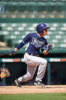 Tampa Bay Rays shortstop Kevin Santiago (55) during an Instructional League game against the Baltimore Orioles on September 19, 2016 at Ed Smith Stadium in Sarasota, Florida.  (Mike Janes/Four Seam Images)