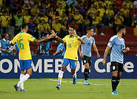 BUCARAMANGA - COLOMBIA, 06-02-2020: Pedrinho Pedro Delmino de Brasil celebra después de anotar el primer gol de su equipo durante partido entre Brasil U-23 Y Uruguay U-23 por el cuadrangular final como parte del torneo CONMEBOL Preolímpico Colombia 2020 jugado en el estadio Alfonso Lopez en Bucaramanga, Colombia. / Pedrinho Pedro Delmino of Brazil celebrates after scoring the first goal of his team during the match between Brazil U-23 and Uruguay U-23 for the final quadrangular as part of CONMEBOL Pre-Olympic Tournament Colombia 2020 played at Alfonso Lopez stadium in Bucaramanga, Colombia. Photo: VizzorImage / Jaime Moreno / Cont