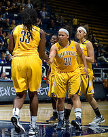 Mikayla Lyles of California celebrates with Talia Caldwell of California during the game against St. Mary's at Haas Pavilion in Berkeley, California on November 15th, 2012.  California defeated St. Mary's, 89-41.