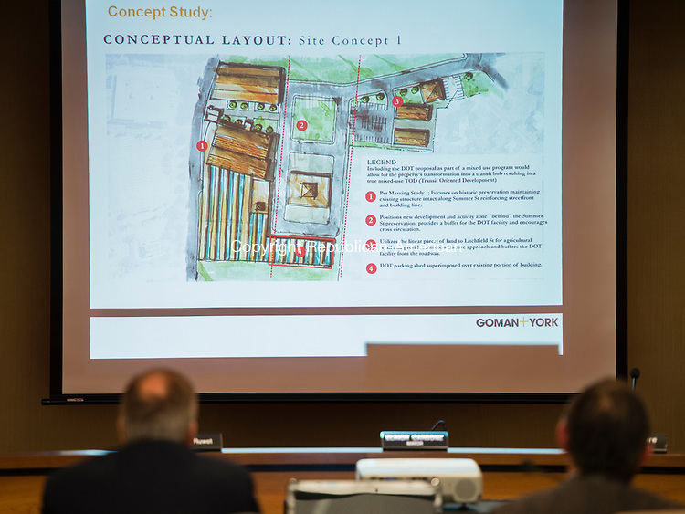 TORRINGTON, CT- 4 January 2015-010416EC03-   Goman and York Property Advisors give a presenation to the Torrington City Council Monday night. The firm performed a market feasibility study on converting the Hendey Machine Co. buildings into a transit facility for Northwest Transit District. Erin Covey Republican-American