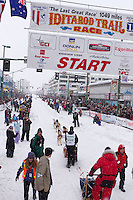 2012 Junior Iditarod winner, Conway Seavey. leaves the start line at Ceremonial Start of Iditarod 2012 in Anchorage, Alaska.