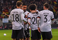 celebrate the goal, Torjubel zum 1:1 Ausgleich Serge Gnabry (Deutschland Germany) mit Jonas Hector (Deutschland Germany), Leon Goretzka (Deutschland, Germany)- 19.11.2019: Deutschland vs. Nordirland, Commerzbank Arena Frankfurt, EM-Qualifikation DISCLAIMER: DFB regulations prohibit any use of photographs as image sequences and/or quasi-video.