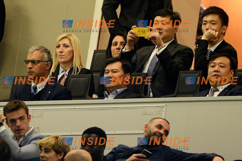 Jindong Zhang Chairman della Suning Commerce Group allo stadio vicino a Michael Bolingbroke Inter<br /> Milano 23-04-2016 Stadio Giuseppe Meazza - Football Calcio Serie A Inter - Udinese. Foto Giuseppe Celeste / Insidefoto