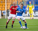 St Johnstone v Ross County....SPFL Development League...19.08.14<br /> Jason Kerr battles with Liam Boyce<br /> Picture by Graeme Hart.<br /> Copyright Perthshire Picture Agency<br /> Tel: 01738 623350  Mobile: 07990 594431