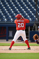 GCL Nationals catcher Israel Pineda (20) at bat during the first game of a doubleheader against the GCL Mets on July 22, 2017 at The Ballpark of the Palm Beaches in Palm Beach, Florida.  GCL Mets defeated the GCL Nationals 1-0 in a seven inning game that originally started on July 17th.  (Mike Janes/Four Seam Images)