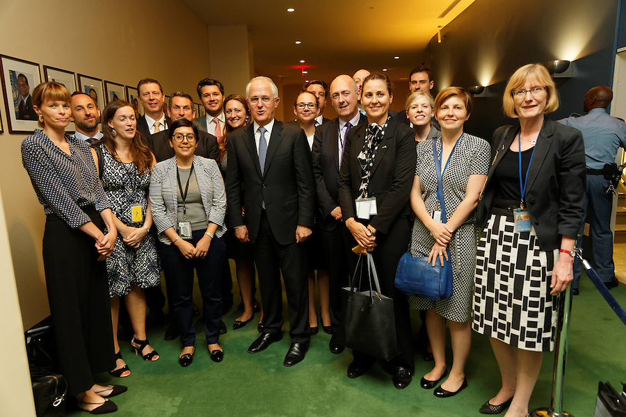 Australian Prime Minister Malcolm Turnbull meets staff and supporters after making the National statement to the General Assembly at UN Headquarters in New York, Wednesday September 21, 2016. photo by Trevor Collens/DFAT