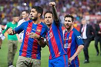 FC Barcelona's forward Luis Suarez, forward Neymar Santos Jr and forward Leo Messi after Copa del Rey (King's Cup) Final between Deportivo Alaves and FC Barcelona at Vicente Calderon Stadium in Madrid, May 27, 2017. Spain.<br /> (ALTERPHOTOS/BorjaB.Hojas) /NortePhoto.com