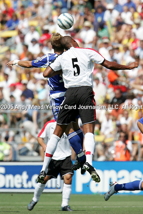 30 July 2005: Zat Knight (5) and Taylor Twellman (behind) challenge for a header. Major League Soccer's All-Stars defeated Fulham FC of the English Premier League 4-1 at Columbus Crew Stadium in Columbus, Ohio in the 2005 Sierra Mist MLS All-Star Game..