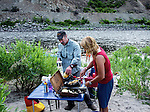 Cooking breakfast on a river rafting trip at the Lower Salmon River, central Idaho