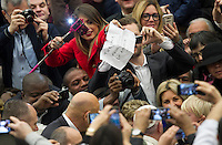 Papa Francesco saluta alcuni fedeli al suo arrivo all'udienza generale del mercoledi' in aula Paolo VI, Citta' del Vaticano, 13 gennaio 2016.<br /> Pope Francis greets faithful as he arrives for his weekly general audience in the Paul VI hall at the Vatican, 13 January 2016.<br /> UPDATE IMAGES PRESS/Riccardo De Luca<br /> <br /> STRICTLY ONLY FOR EDITORIAL USE