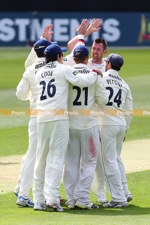 David Masters of Essex (arm raised, facing camera) celebrates the wicket of George Bailey - Essex CCC vs Hampshire CCC - LV County Championship Division Two Cricket at the Essex County Ground, Chelmsford - 29/04/13 - MANDATORY CREDIT: Gavin Ellis/TGSPHOTO - Self billing applies where appropriate - 0845 094 6026 - contact@tgsphoto.co.uk - NO UNPAID USE.