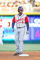 Ernesto Mejia (52) of the Gwinnett Braves stands on second base during the game against the Charlotte Knights at BB&T Ballpark on April 16, 2014 in Charlotte, North Carolina.  The Braves defeated the Knights 7-2.  (Brian Westerholt/Four Seam Images)