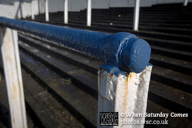 Greenock Morton 2 Stranraer 0, 21/02/2015. Cappielow Park, Greenock. A crush barrier in club colours of blue and white at the home end of the ground, pictured before Greenock Morton take on Stranraer in a Scottish League One match at Cappielow Park, Greenock. The match was between the top two teams in Scotland's third tier, with Morton winning by two goals to nil. The attendance was 1,921, above average for Morton's games during the 2014-15 season so far. Photo by Colin McPherson.