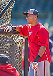 7 March 2013: Washington Nationals shortstop Ian Desmond awaits his turn in the batting cage prior to a Spring Training game against the Houston Astros at Osceola County Stadium in Kissimmee, Florida. The Astros defeated the Nationals 4-2 in Grapefruit League play. Mandatory Credit: Ed Wolfstein Photo *** RAW (NEF) Image File Available ***