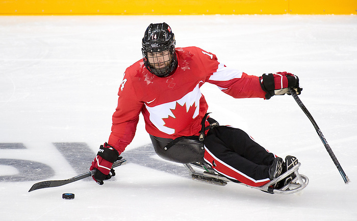 Sochi, RUSSIA - Mar 8 2014 -  Canada takes on Sweden during the 2014 Paralympic Winter Games in Sochi, Russia.  (Photo: Matthew Murnaghan/Canadian Paralympic Committee)