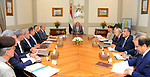 Egyptian President Abdel Fattah al -Sisi meets with Prime Minister and Governor of the Central Bank, in Cairo, Egypt, on August 22, 2017. Photo by Egyptian President Office