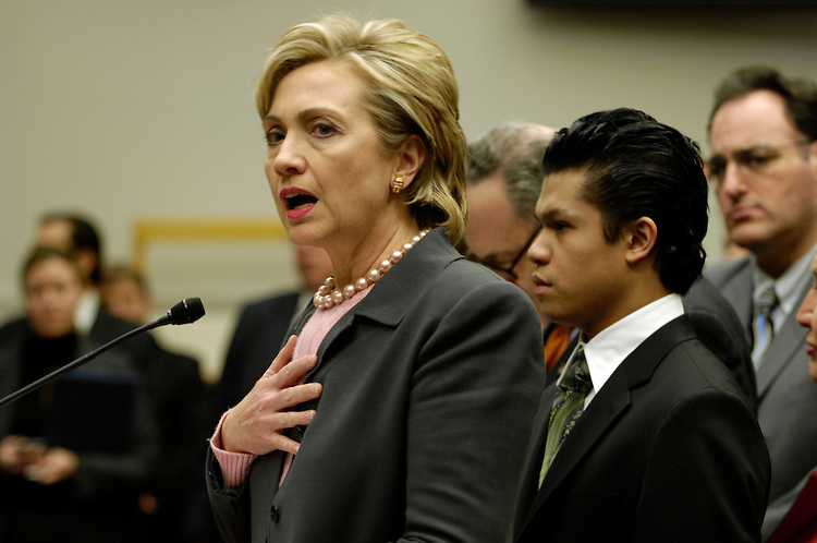 Hillary Rodham Clinton, D-N.Y., during the news conference with sick 9/11 first responders to call for 9/11 health funding in the FY2008 budget.