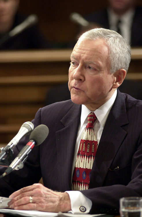 6ashcroft013001 -- Orrin Hatch, R-Utah,  during the Senate Judiciary Committee vote on the confirmation of John Ashcroft to be Attorney General.