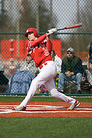 March 22, 2008: The Newport Knights' Collin Bennett eyes his two-run blast against Tumwater High School in a non-league game held at Newport High School in Bellevue, Washington.
