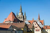 Germany, Bavaria, Middle Franconia, Ansbach: oldtown roofs with spires of St Gumbertus (left) and St John church | Deutschland, Bayern, Mittelfranken, Ansbach: ueber den Daechern der Altstadt trohnen die Tuerme der St. Gumbertus (links) und der St. Johannis  Kirche