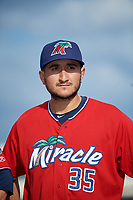 Fort Myers Miracle Hector Lujan (35) during introductions before a Florida State League game against the Charlotte Stone Crabs on April 6, 2019 at Charlotte Sports Park in Port Charlotte, Florida.  Fort Myers defeated Charlotte 7-4.  (Mike Janes/Four Seam Images)