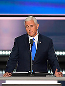 Governor Mike Pence (Republican of Indiana), the GOP nominee for Vice President of the United States delivers his acceptance speech at the 2016 Republican National Convention held at the Quicken Loans Arena in Cleveland, Ohio on Wednesday, July 20, 2016.<br /> Credit: Ron Sachs / CNP<br /> (RESTRICTION: NO New York or New Jersey Newspapers or newspapers within a 75 mile radius of New York City)