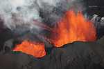 Lava fountains from fissure of Holuhraun eruption, Bardarbunga Volcano, Iceland.