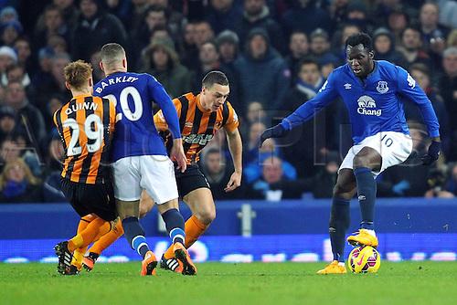 03.12.2014.  Liverpool, England. Premier League. Everton versus Hull. Everton forward Romelu Lukaku controls the ball