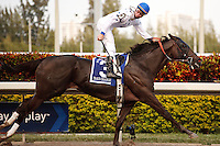 Take Charge Indy with jockey Calvin Borel winning the Florida Derby (G1) Gulfstream Park Hallandale Beach Florida. 03-31-2012. Arron Haggart/Eclipse Sportswire