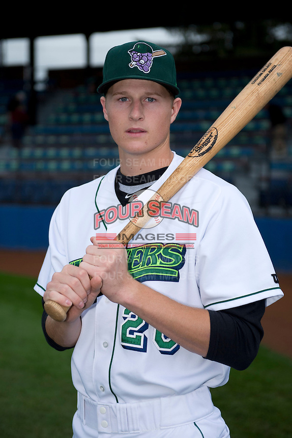 Jamestown Jammers shortstop Erich Weiss (26) poses for a photo before a game against the State College Spikes on September 3, 2013 at Russell Diethrick Park in Jamestown, New York.  State College defeated Jamestown 3-1.  (Mike Janes/Four Seam Images)