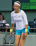 Victoria Azarenka plays at the Sony Ericsson Open in Key Biscayne, Florida on March 28, 2012
