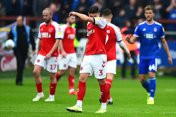 Fleetwood Town's Danny Andrew looks dejected at the end of the match<br /> <br /> Photographer Richard Martin-Roberts/CameraSport<br /> <br /> The EFL Sky Bet League One - Fleetwood Town v Ipswich Town - Saturday 5th October 2019 - Highbury Stadium - Fleetwood<br /> <br /> World Copyright © 2019 CameraSport. All rights reserved. 43 Linden Ave. Countesthorpe. Leicester. England. LE8 5PG - Tel: +44 (0) 116 277 4147 - admin@camerasport.com - www.camerasport.com