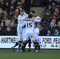 Wes Attkinson of Notts County celebrates his deflected goal during the Sky Bet League 2 match between Luton Town and Notts County at Kenilworth Road, Luton, England on 30 January 2016. Photo by Liam Smith.
