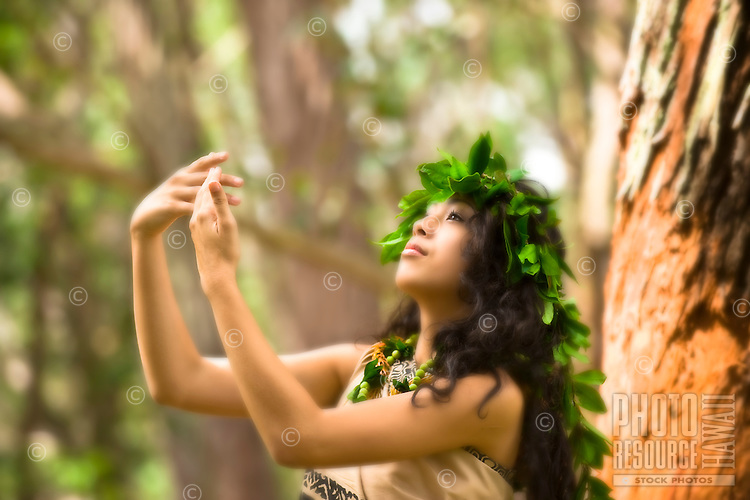 A Hawaiian dancer in kahiko or old-style attire, O'ahu.