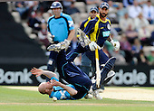 Hampshire Royals V Scottish Saltires at the Rose Bowl, Southampton CB40 - Gregor Maiden (Grange CC), returning to Saltires duty after a period out of the national team, just fails to stop the ball under the watchful eye of Hampshire batsman Nick Pothas - Picture by Donald MacLeod 30.05.10 - mobile 07702 319 738 - see sords Willam Dick 077707 839 23