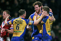 Picture by Alex Whitehead/SWpix.com - 17/03/2017 - Rugby League - Betfred Super League - Leeds Rhinos v Wakefield Trinity - Headingley Carnegie Stadium, Leeds, England - Leeds' Anthony Mullally celebrates his try with Matt Parcell (R) and Danny McGuire (L).