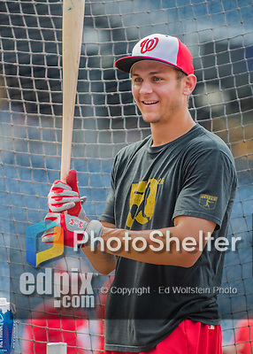 22 July 2016: Washington Nationals infielder Trea Turner awaits his turn in the batting cage prior to a game against the San Diego Padres at Nationals Park in Washington, DC. The Padres defeated the Nationals 5-3 to take the first game of their 3-game, weekend series. Mandatory Credit: Ed Wolfstein Photo *** RAW (NEF) Image File Available ***