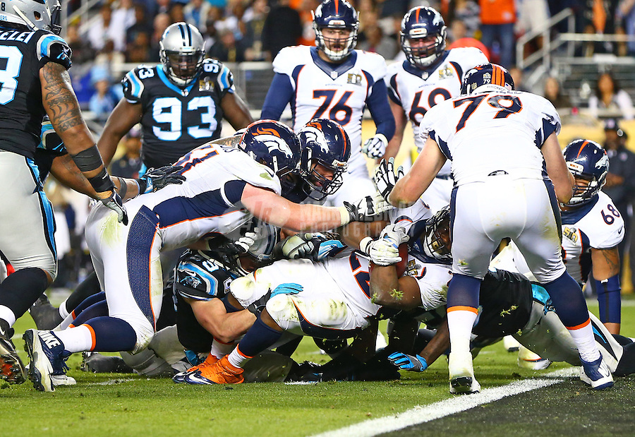 Feb 7, 2016; Santa Clara, CA, USA; Denver Broncos running back C.J. Anderson (22) dives for a touchdown against the Carolina Panthers in the fourth quarter in Super Bowl 50 at Levi's Stadium. Mandatory Credit: Mark J. Rebilas-USA TODAY Sports