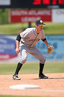 Third baseman Stephen King (8) of the Hagerstown Suns on defense versus the Kannapolis Intimidators at Fieldcrest Cannon Stadium in Kannapolis, NC, Monday May 26, 2008.