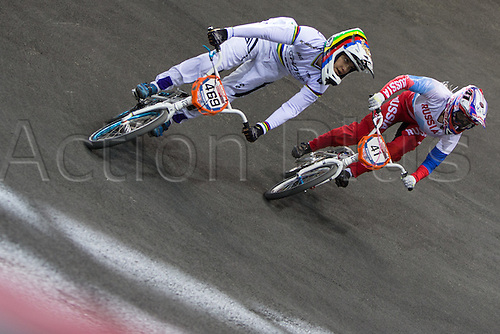 10.04.2016. National Cycling Centre, Manchester, England. UCI BMX Supercross World Cup Finals. Stefany Hernandez and Natalia Suvorov.