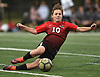 Lucas Essigman #10 of Long Island Lutheran slides to play a ball near midfield during the PSAA varsity boys soccer final against The Stony Brook School at Cantiague Park in Hicksville on Friday, Oct. 26, 2018. Stony Brook won by a score of 2-1.