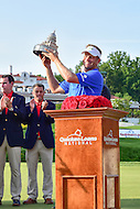 Bethesda, MD - June 26, 2016: Billy Hurley III (USA) holds up the trophy after winning the Quicken Loans National at the Quicken Loans National Tournament at the Congressional Country Club in Bethesda, MD, June 26, 2016.  (Photo by Philip Peters/Media Images International)