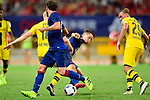 Manchester United midfielder Ander Herrera (c) fights for the ball with Borussia Dortmund midfielder Sebastian Rode (l) during the International Champions Cup China 2016, match between Manchester United vs Borussia  Dortmund on 22 July 2016 held at the Shanghai Stadium in Shanghai, China. Photo by Marcio Machado / Power Sport Images