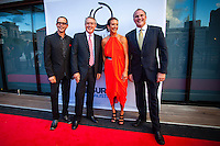 Darling Harbour, Sydney. (20th February, 2013): Kirk Pengilly (AUS), Deputy Prime Minister Wayne Swan (AUS), Layne Beachley (AUS) and Andrew Stark (AUS).  Australian surfing celebrated its champions tonight with Mark Richards and Stephanie Gilmore honoured at the Australian Surfing Awards in Sydney...The Awards marked a significant milestone in Surfing Australia's history as it celebrated its 50th Anniversary following its formation in 1963 as the Australian Surfriders Association and over 500 guests celebrated at the gala event. It was an unprecedented gathering of Australian surfing legends from the past 50 years...Four-times World Champion Mark Richards was named Australia's Most Influential Surfer 1963-2013, while five-times World Champion Stephanie Gilmore was inducted as the 35th member of the Australian Surfing Hall of Fame...The campaign to find Australia's 10 Most Influential Surfers 1963-2013 was conducted through a public vote and through votes provided by the members of the Australian Surfing Hall of Fame...The 10, in order of votes received, was: Mark Richards, Simon Anderson, Nat Young, Michael Peterson, Midget Farrelly, Tom Carroll, Layne Beachley, Wayne Bartholomew, Mark Occhilupo and Bob McTavish...Peter 'Joli' Wilson's photo of the wave Cloudbreak off Fiji during the enormous run of swell in June won the Nikon Surf Photo of the Year and Storm Surfers 3D featuring Ross Clarke-Jones and Tom Carroll was named the Nikon Surf Movie of the Year...2013 AUSTRALIAN SURFING AWARDS WINNERS..Australian Surfing Hall of Fame Inductee: Stephanie Gilmore.Australia's Most Influential Surfer 1963-2013: Mark Richards.Male Surfer of the Year: Joel Parkinson.Female Surfer of the Year: Stephanie Gilmore.Rising Star: Jack Freestone.Waterman of the Year: Jamie Mitchell.ASB Surfing Spirit Award: Misfit Aid.Peter Troy Lifestyle Award: Bob Smith.Surf Culture Award: The Reef - by the Australian Chamber Orchestra and Tura New Music.Simon Anderson Club Award: Kirra Surfriders C